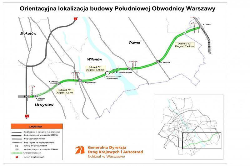 Mapa południowej obwodnicy Warszawy w ciągu drogi eksprsowej S2