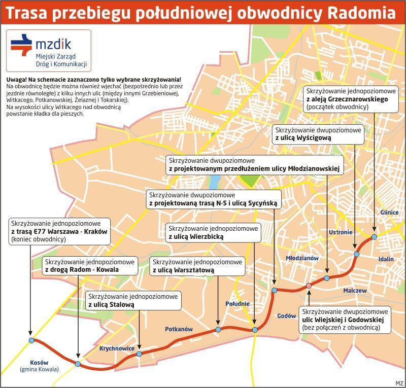 Południowa obwodnica Radomia  - mapa przebiegu trasy