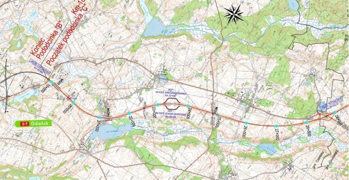 Mapa S7 Ostróda - Rychnowo
