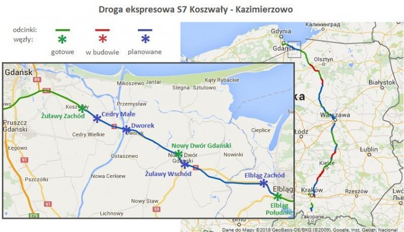 Mapa odcinka drogi S7 Koszwały - Elbląg