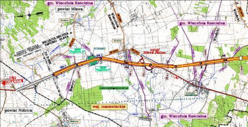 Mapa S7 Napierki - Mława