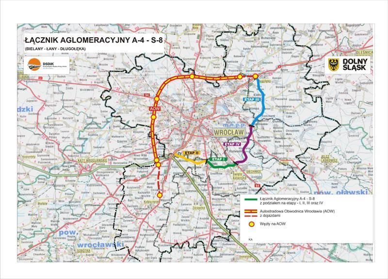 Mapa Wschodniej Obwodnicy Wrocławia