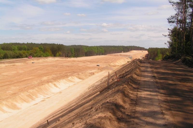Budowa autostrady A2 koło Konina