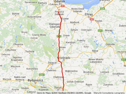 Mapa płatnych odcinków autostrady A1