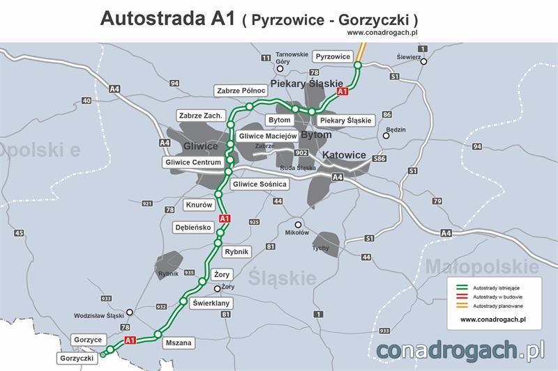 Mapa autostrady A1 Pyrzowice – Gorzyczki