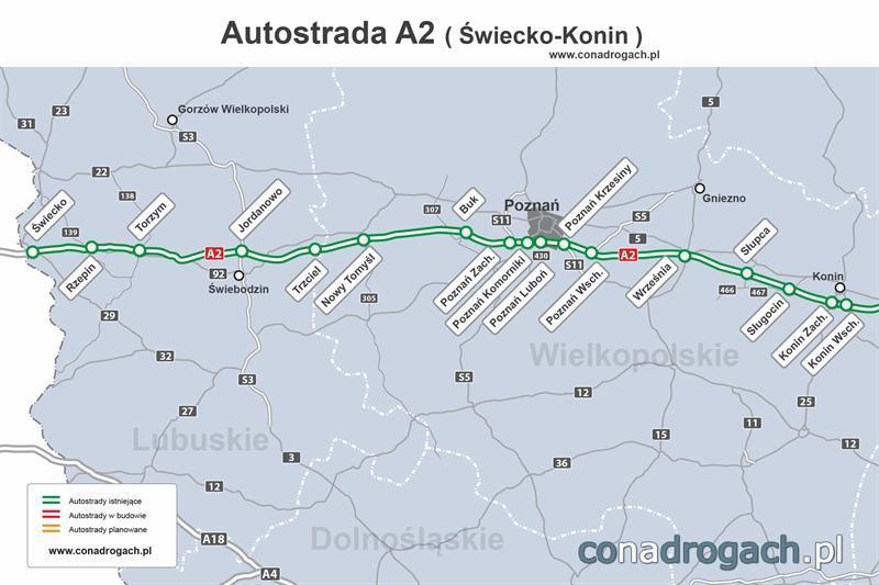 Mapa autostrady A2 Świecko - Konin