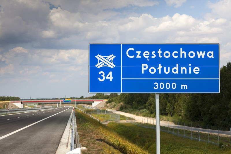 Autostradą A1 dotrzemy z Pyrzowic do węzła Częstochowa Południe
