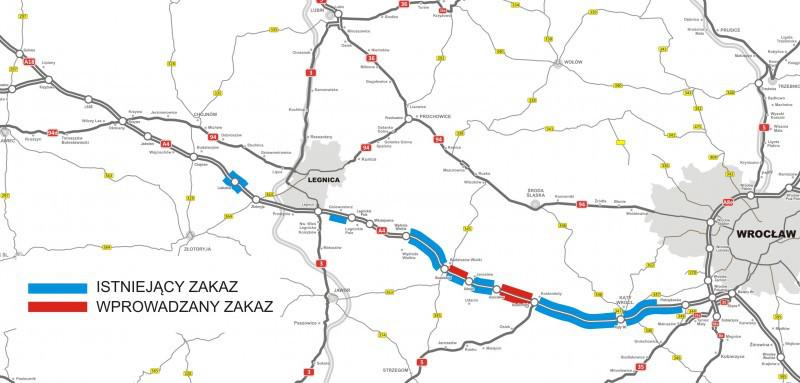 Autostrada A4: Mapa odcinków z zakazem wyprzedzania dla aut ciężarowych