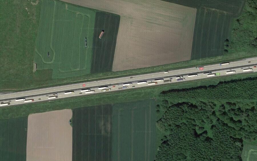 Korek na autostradzie A4 Legnica - Wrocław