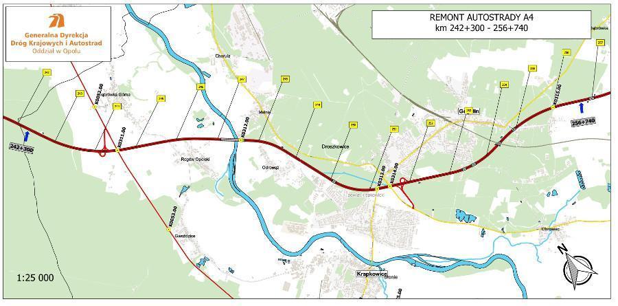 Mapa remontowanego odcinka autostrady A4 w woj. opolskim