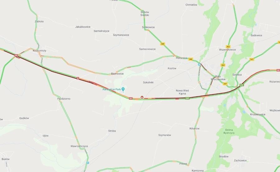 Wypadek na autostradzie A4. Korek ma kilkanaście kilometrów