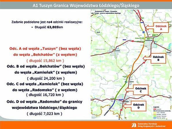 Budowa autostrady A1 Tuszyn - granica województwa w podziale na odcinki realizacyjne