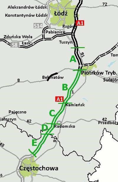 Mapa autostrady A1 Łódź - Częstochowa w podziale na odcinki