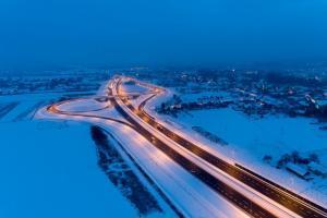 Zima na autostradzie A4 w woj. podkarpackim