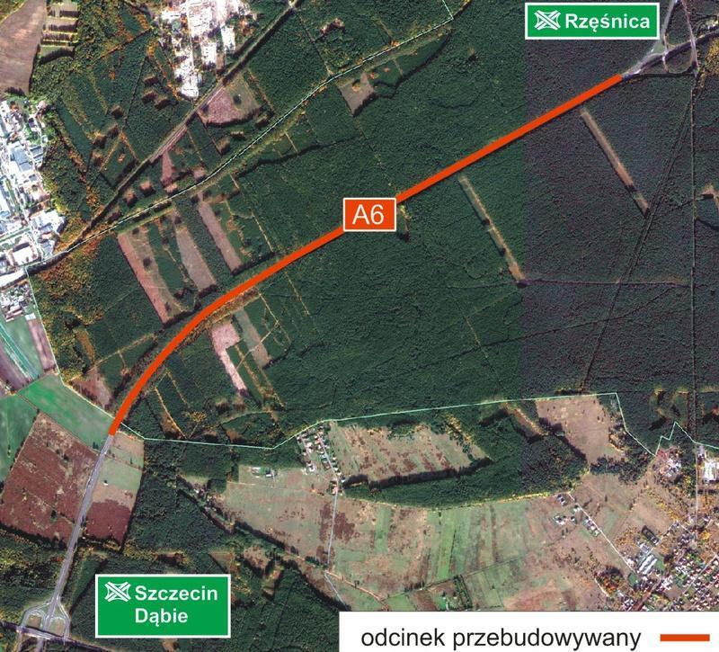 Mapa przebiegu przebudowanego odcinka A6 Szczecin - Dąbie