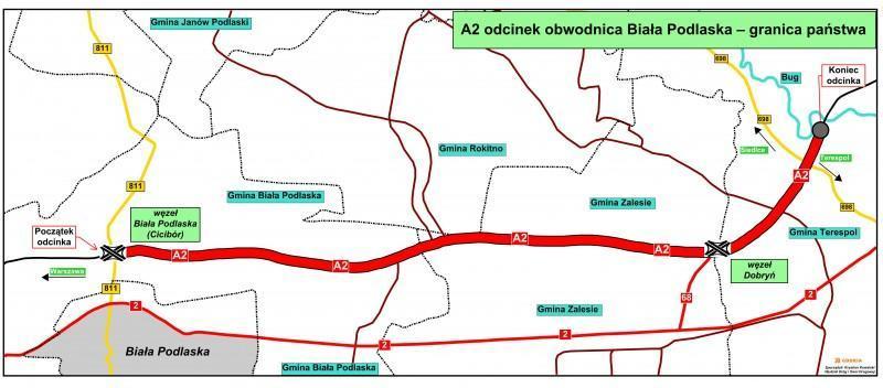 Mapa autostrady A2 Biała Podlaska - wschodnia granica państwa