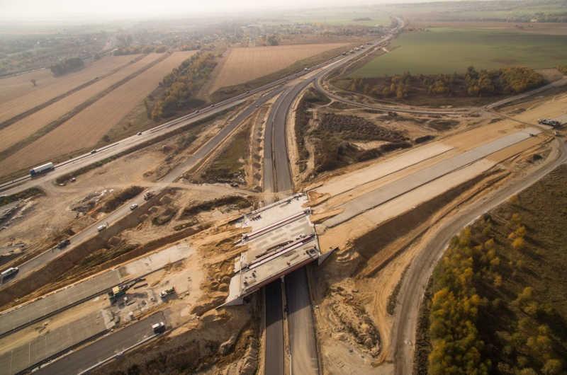Budowa autostrady A1 - obwodnica Częstochowy, jesień 2018 r.