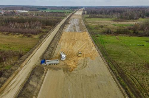 Budowa autostrady A2 Warszawa - Mińsk Maz. Zdjęcia z odcinka w. Konik - obw. Mińska Maz.