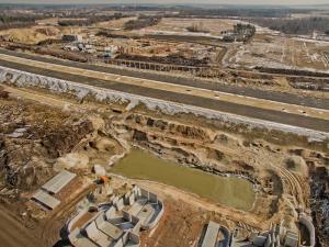 Budowa autostrady A1 w okolicach Pyrzowic - zdjecia z marca 2018 r.