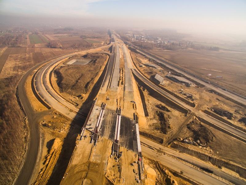 Budowa autostrady A1 koło Częstochowy