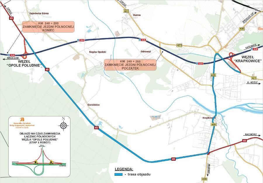 Mapa z proponowanymi objazdami autostrady A4 na czas  remontu
