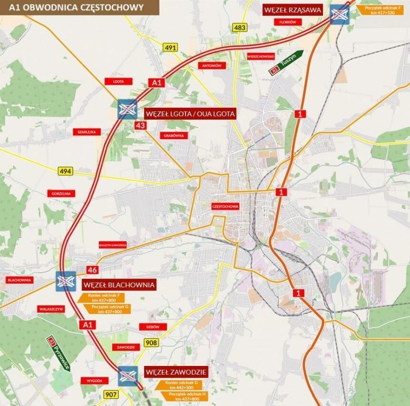 Mapa Autostrady A1 Obwodnicy Czestochowy Informacje Conadrogach Pl