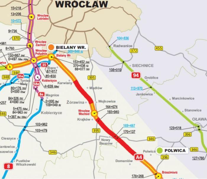 Remont autostrady A4 pod Wrocławiem - mapa odcinka A4 z utrudnieniami