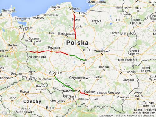 Mapa płatnych odcinków autostrad w Polsce
