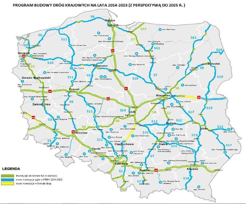 Nowe odcinki autostrad i dróg ekspresowych oraz obwodnic do 2025 r