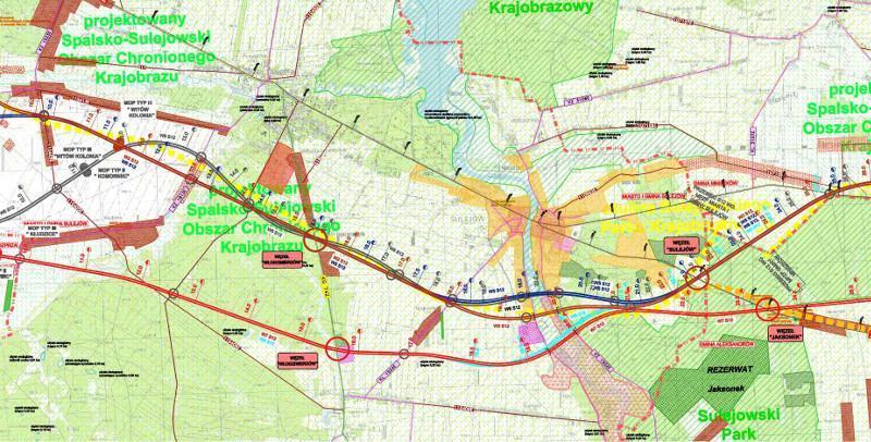 Mapa przebiegu drogi ekspresowej S12 Piotrków Trybunalski - Opoczno