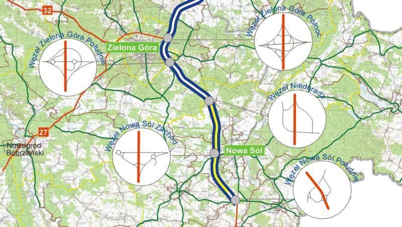 Mapa przebiegu drogi ekspresowej S3 Zielona Góra - NIedoradz - Nowa Sól