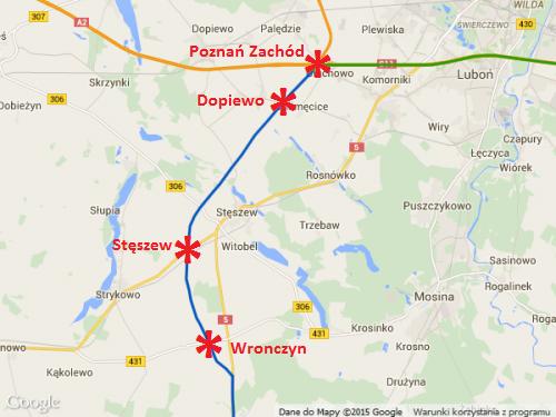 Mapa drogi ekspresowej S5 Poznań - Wronczyn