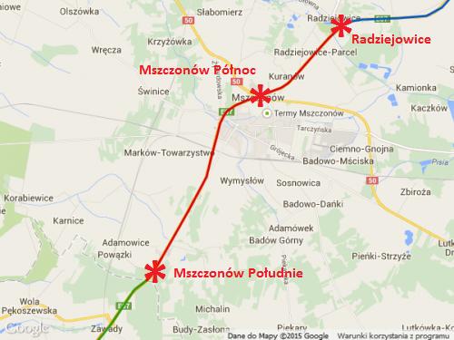 Mapa - droga ekspresowa S8 Radziejowice - Mszczonów