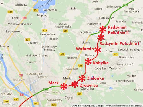 Mapa - droga ekspresowa S8 Marki - Radzymin