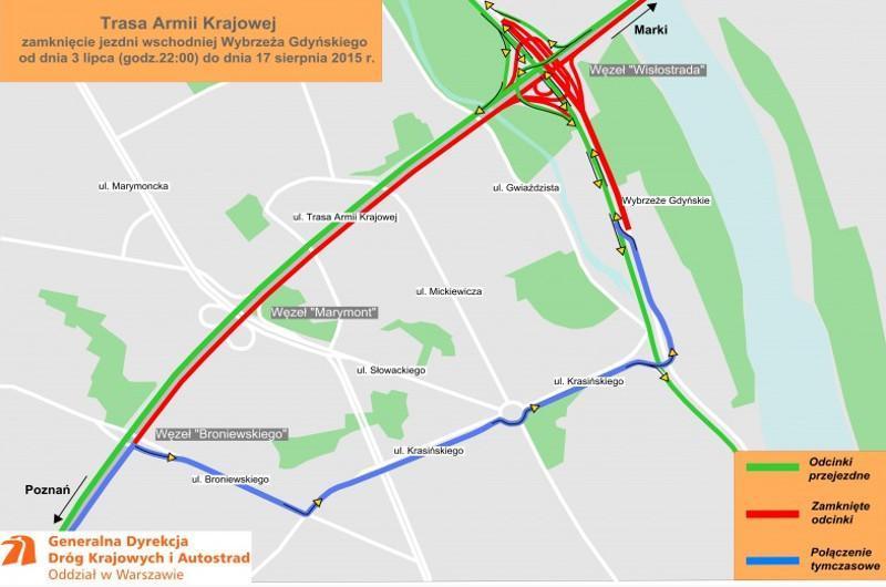 Utrudnienia w Warszawie - przebudowa Trasy AK do drogi ekspresowej S8