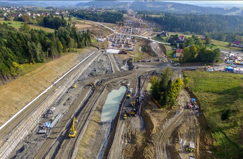Budowa odcinka Zakopianki Naprawa - Skomielna Biała