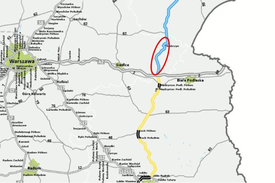 Mapa lokalizacji drogi ekspresowej S19 w woj. mazowieckim