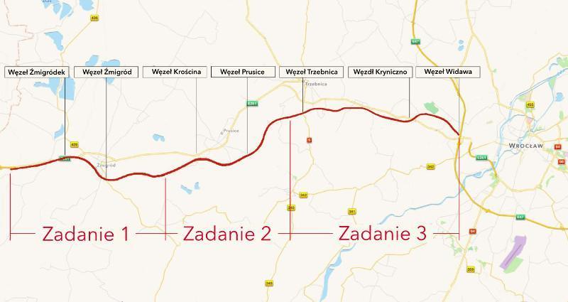 Mapa prezbiegu drogi ekspresowej S5 Korzeńsko - Wrocław w podziale na odcinki realizacyjne