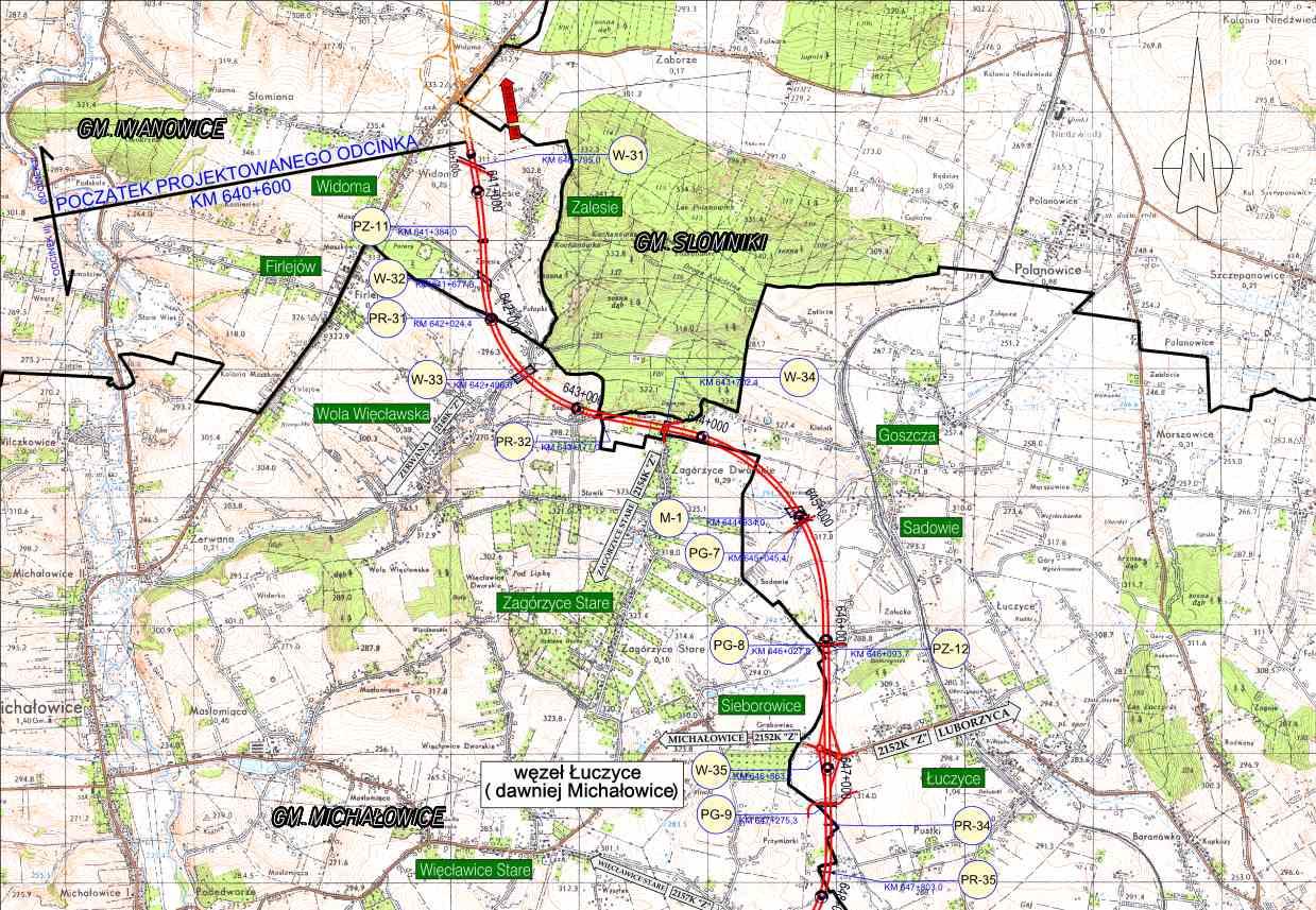 Mapa drogi S7 Kraków (Igołomska) - Widoma. Odc. Widoma - Łuczyce