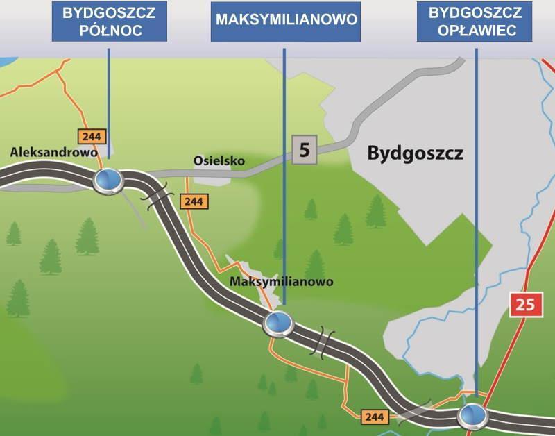 Mapa odcinka drogi S5 obwodnicy Bydgoszczy Tryszczyn - Aleksandrowo