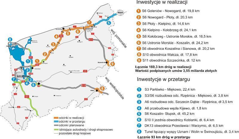 Nowe drogi ekspresowe S6, S10, S11 w woj. zachodniopomorskim