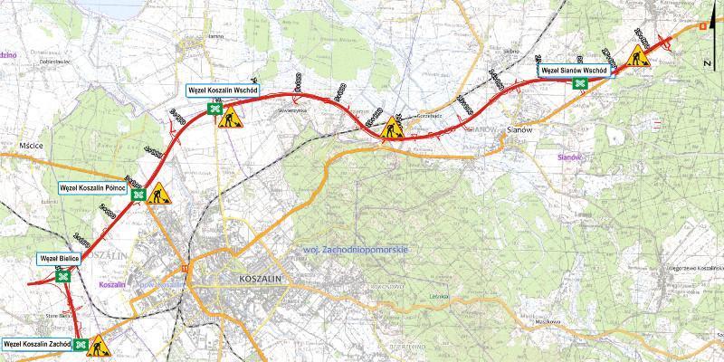 Mapa drogi S6 z utrudnieniami  przy budowie obwodnicy Koszalina i Sianowa