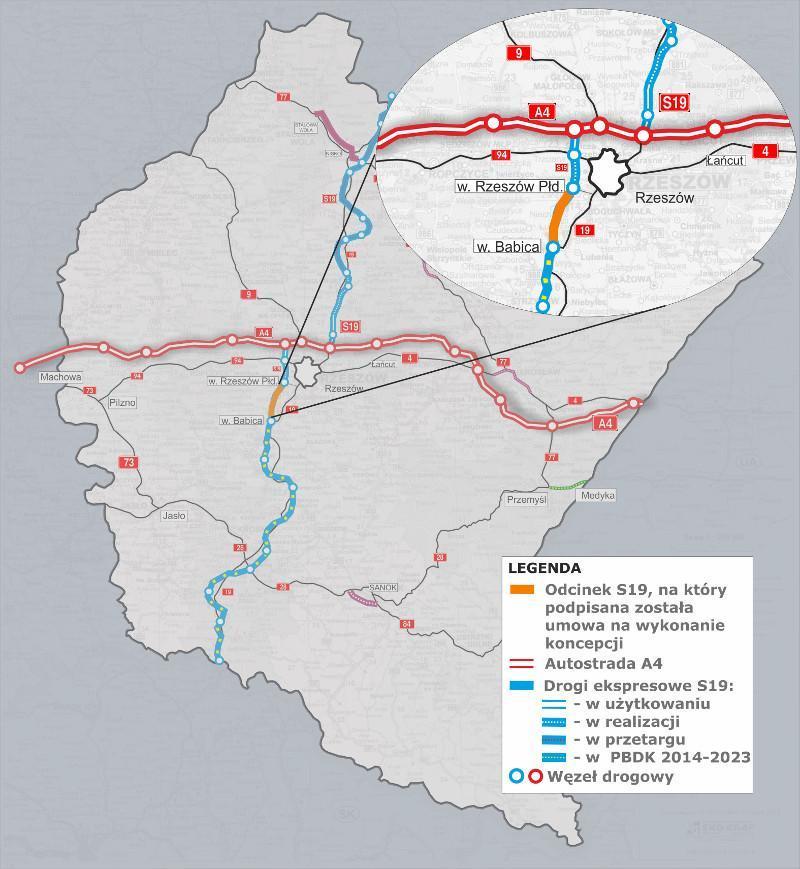Mapa przebiegu drogi ekspresowej S19 Rzeszów - Babica