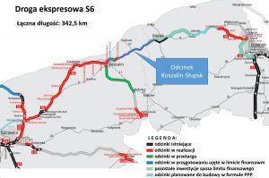 Mapa drogi ekspresowej S6 Szczecin - Gdynia w podziale na zadania w budowie i projektowaniu