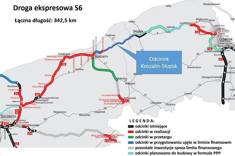 Mapa drogi ekspresowej S6 w podziale na odcinki w budowie, projektowane i planowane