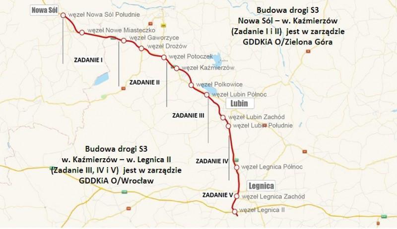Mapa przbiegu drogi ekspresowej S3 Nowa Sól - lubin - Legnica