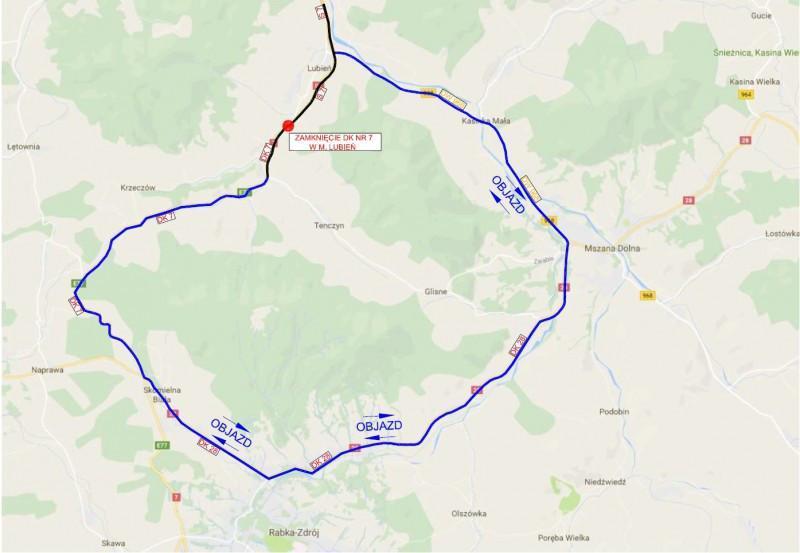 Objazd Zakopianki w Lubniu. Budowa drogi ekspresowej S7