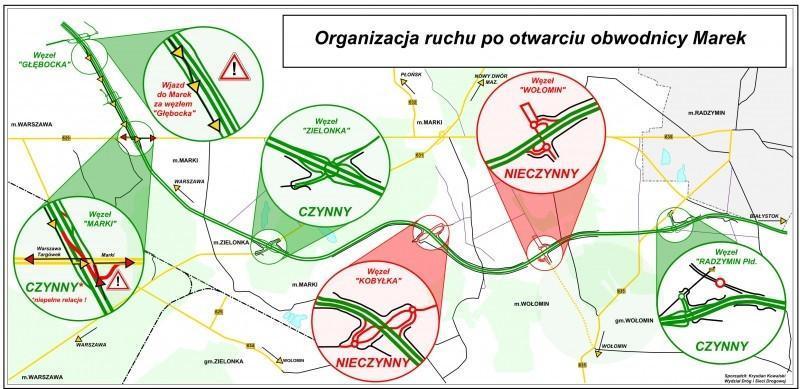 Mapa przebiegu drogi ekspresowej S8 - obwodnica Marek, zamknięte węzły