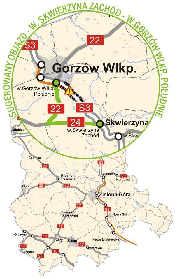 Korki na S3 koło Gorzowa. Objazdy