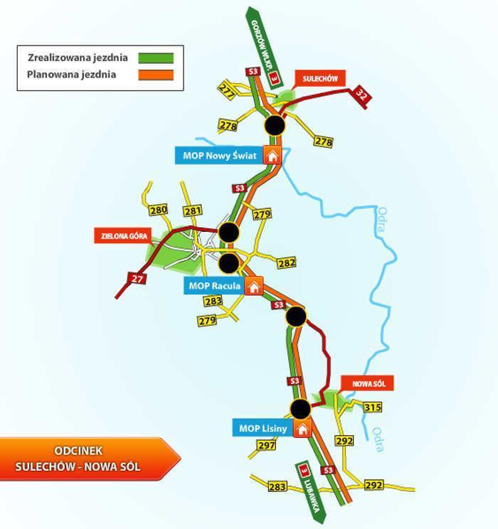 Mapa z odcinkami realizacyjnymi drogi ekspresowej S3 w woj. lubuskim